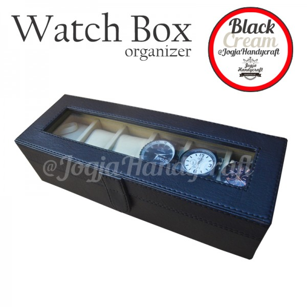 Black Cream Watch Box Organizer / Kotak Tempat Jam Tangan Isi 6