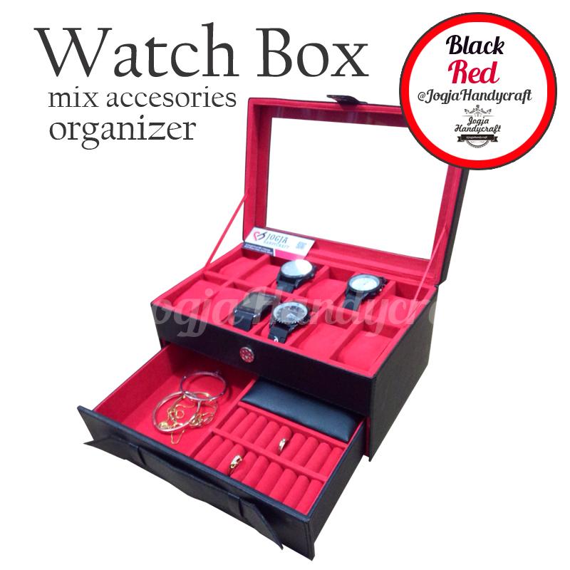 Photo of Kotak Tempat Jam Tangan isi 12 Kombinasi Laci Tempat Perhiasan Hitam Merah