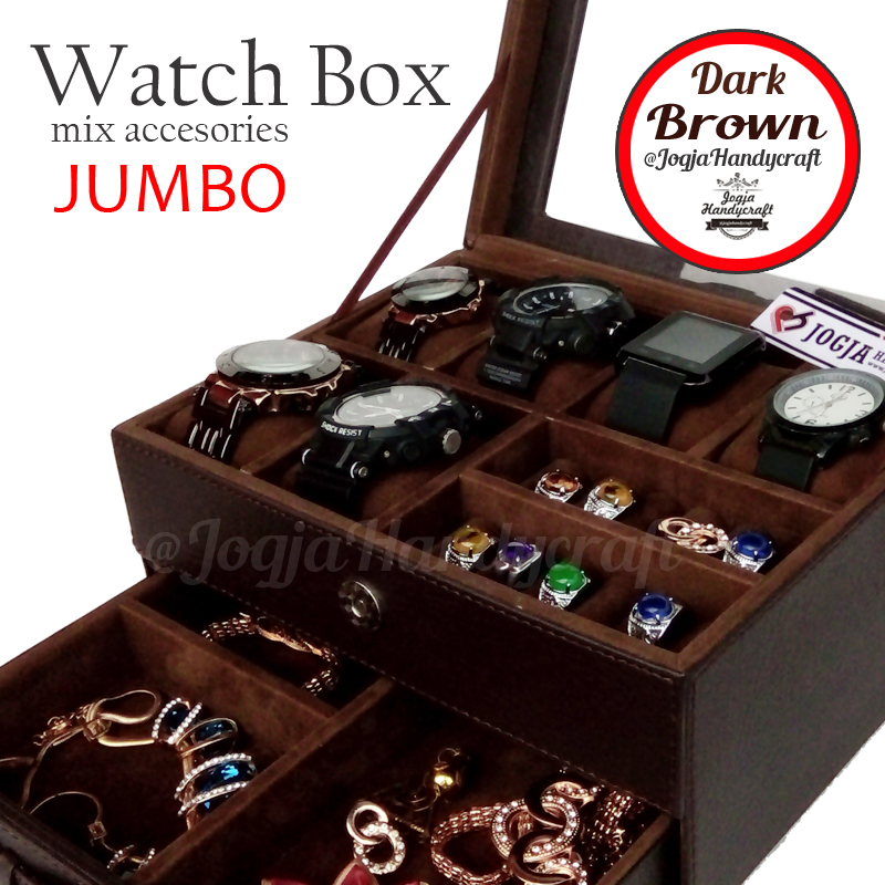 Photo of Kotak Tempat Jam Tangan Sport mix Tempat Perhiasan Full Coklat