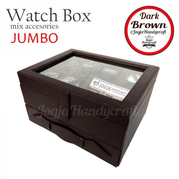 Kotak Tempat Jam Tangan Sport Mix Tempat Perhiasan Coklat