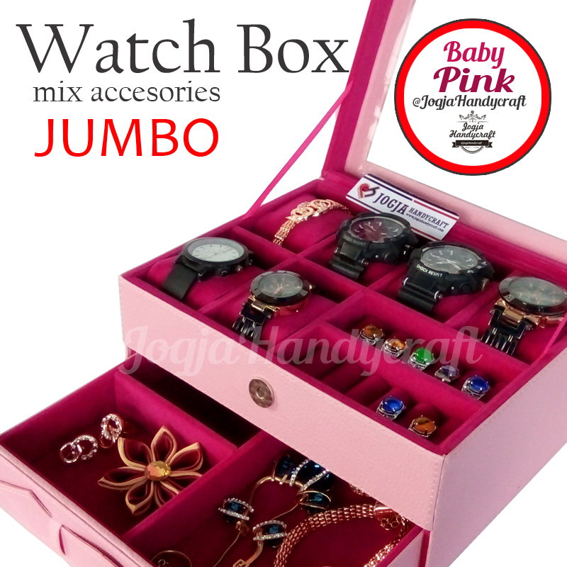 Photo of Kotak Tempat Jam Tangan Sport mix Tempat Perhiasan Baby Pink
