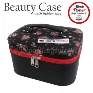 Tas Kosmetik Cantik Motif Bunga Hitam Lucu   Traveller Makeup Organizer