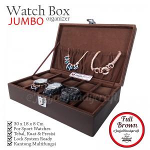 Exclusive Watch Box With Lock | Kotak Tempat Jam Tangan Full Brown