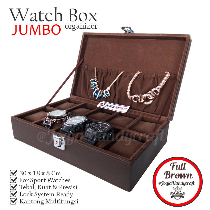 Exclusive Watch Box With Lock | Kotak Tempat Jam Tangan Full Brown