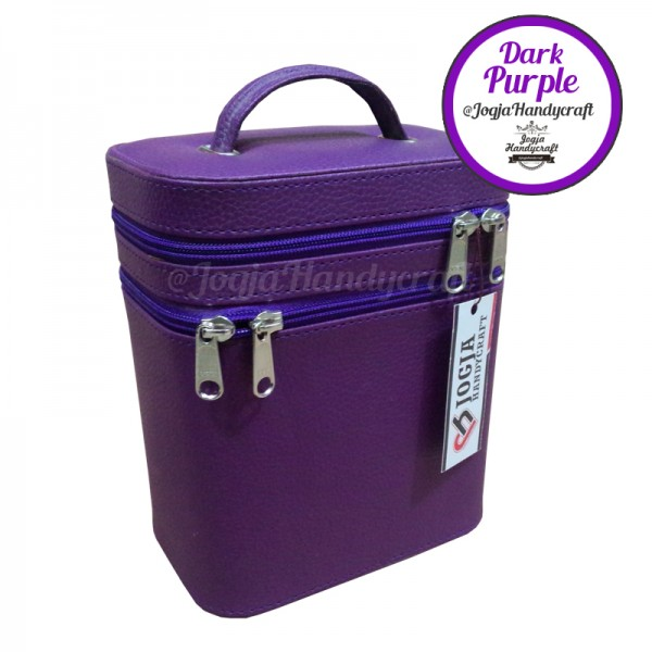 Makeup Pouch - Tas Kosmetik Susun Double Compartmen [Purple]