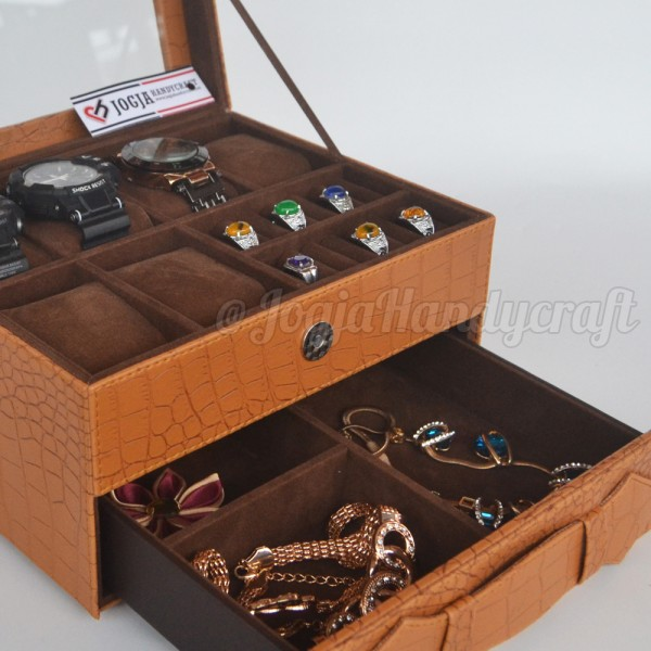 Elegan Brown Croco Wacth Box For 6 Sport Watches Mix Accesories Holder